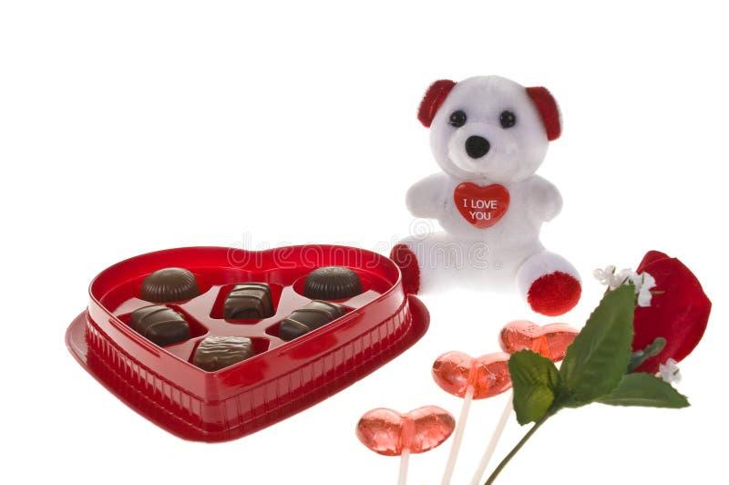 Caramelo de la tarjeta del día de San Valentín imágenes de archivo libres de regalías
