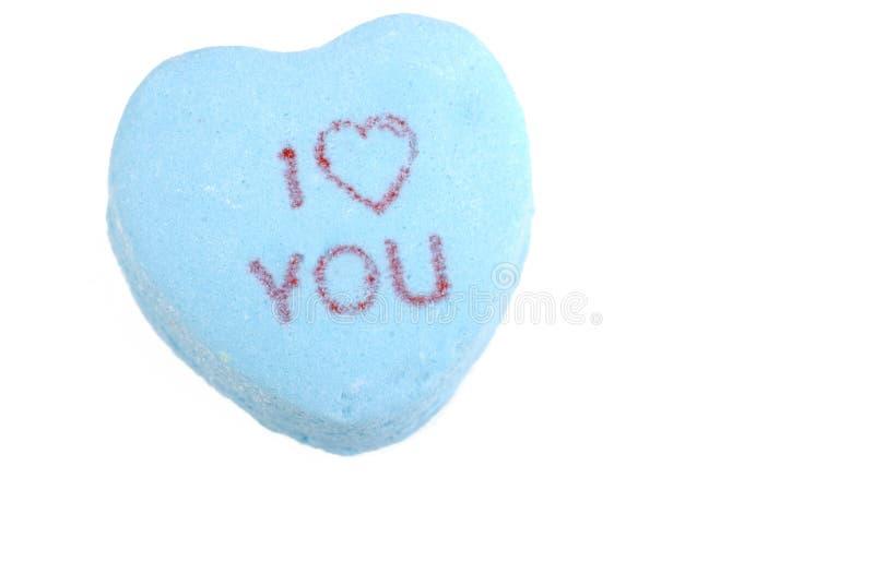 Caramelo de la tarjeta del día de San Valentín te amo fotografía de archivo