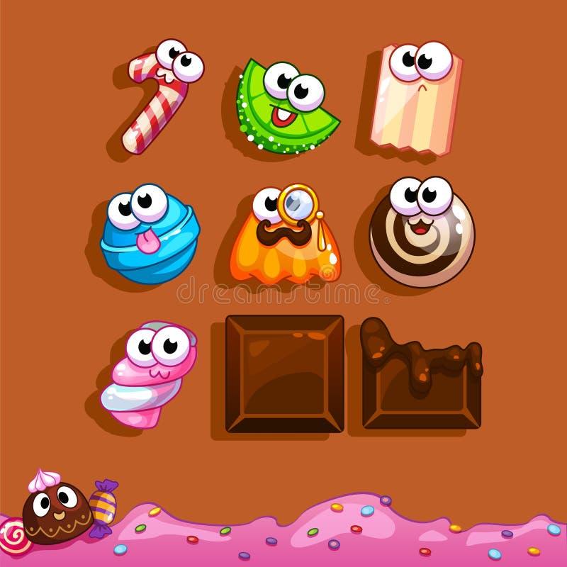 Caramelo de los iconos para el interfaz del juego ilustración del vector