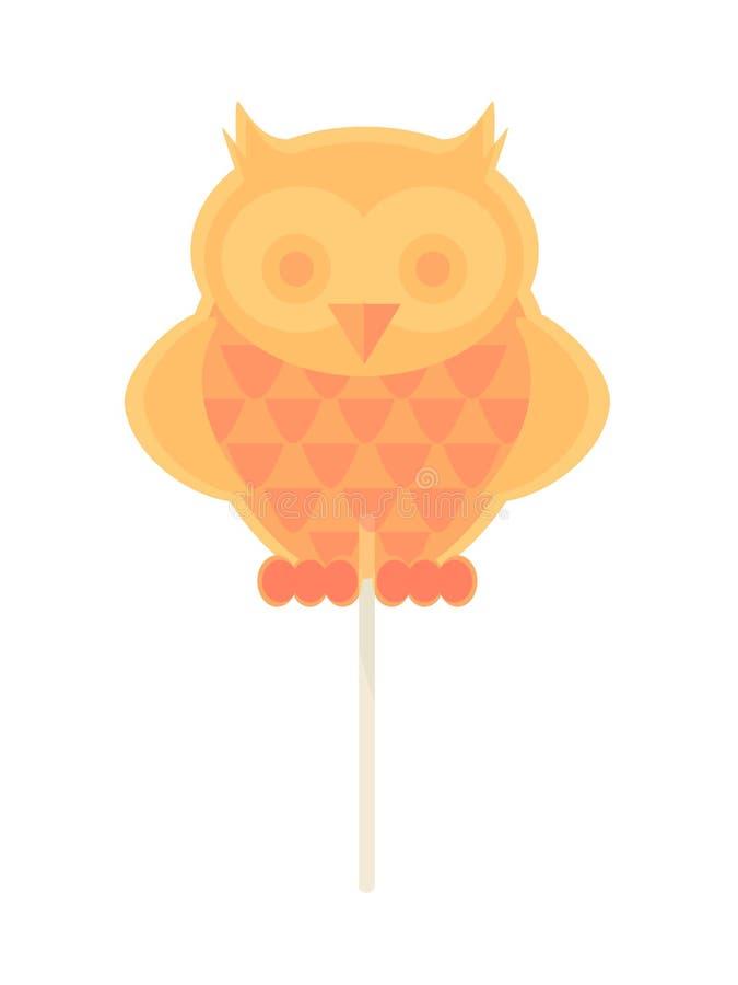 Caramelo del caramelo en un palillo bajo la forma de búho ilustración del vector