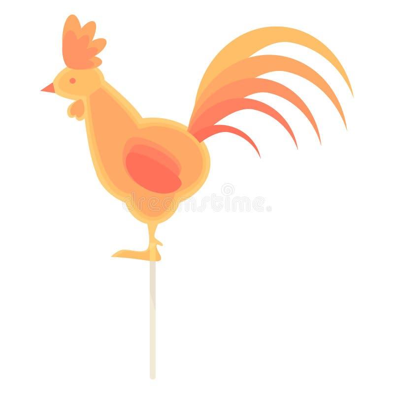 Caramelo del caramelo en un palillo bajo la forma de gallo ilustración del vector