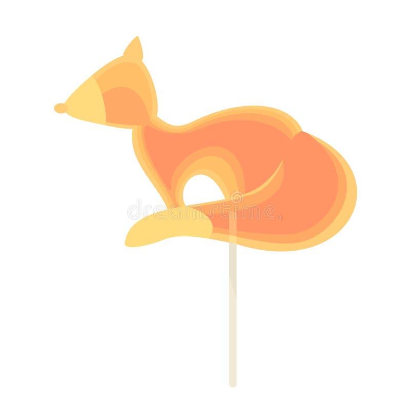 Caramelo del caramelo en un palillo bajo la forma de zorro ilustración del vector