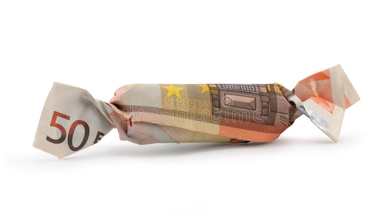 Caramelo del euro cincuenta con el camino de recortes foto de archivo