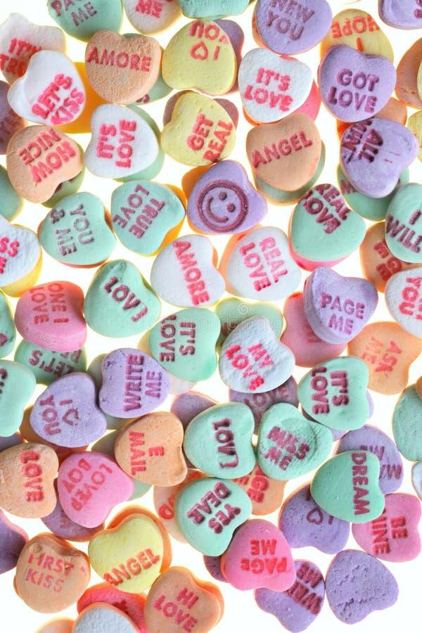 Caramelo dulce de los mensajes del amor   foto de archivo