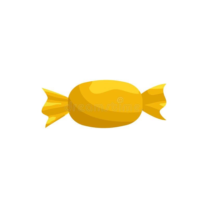 Caramelo en el icono amarillo de la envoltura, estilo de la historieta libre illustration