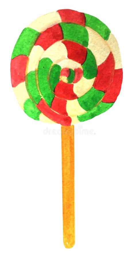 Caramelo en un palillo, ronda multicolora ilustración del vector