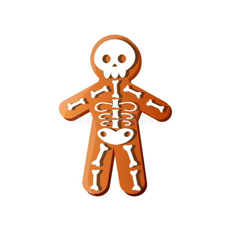 Caramelo esquelético de Halloween del día de fiesta del pan de jengibre del hueso blanco stock de ilustración