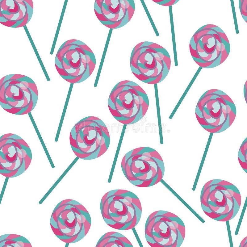 Caramelo inconsútil del vector, modelo de la piruleta Los dulces azules y rosados imprimen ilustración del vector
