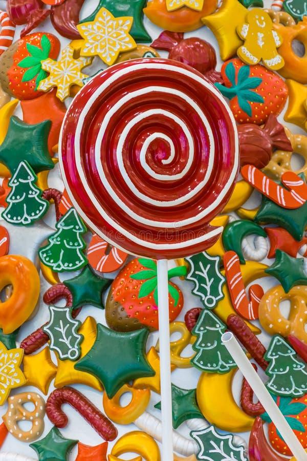 Caramelo, nieve, piruleta y colores de la Navidad fotos de archivo libres de regalías
