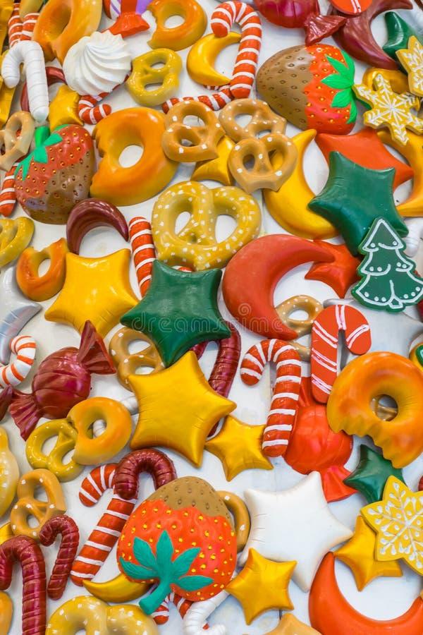 Caramelo, nieve, piruleta y colores de la Navidad imagen de archivo