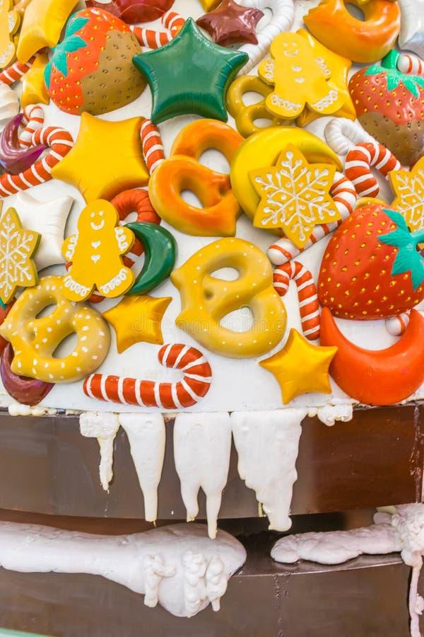 Caramelo, nieve, piruleta y colores de la Navidad imagen de archivo libre de regalías