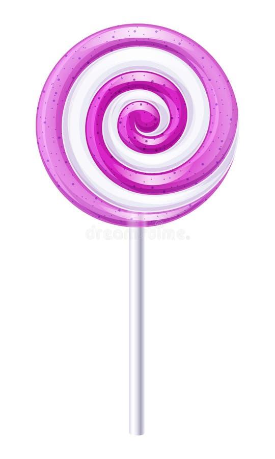 Caramelo púrpura y blanco Piruleta de la fruta stock de ilustración