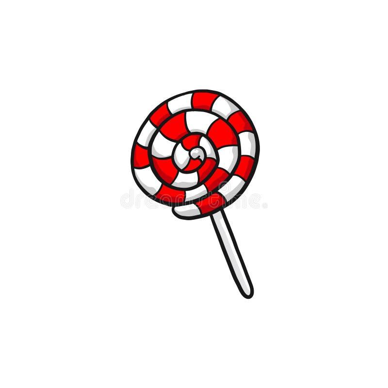 Caramelo rojo en un palillo imagen de archivo