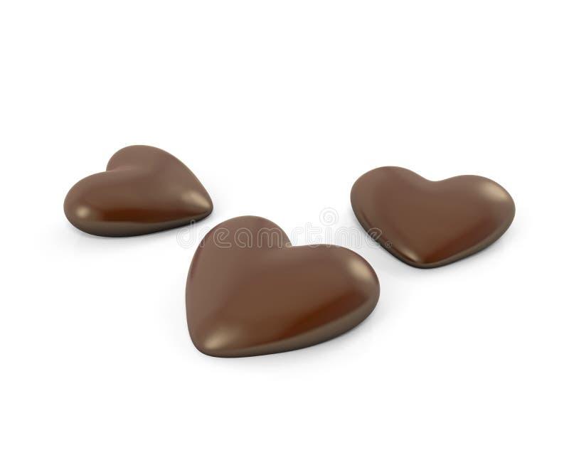 Caramelos de chocolate en forma de corazón de Thre libre illustration