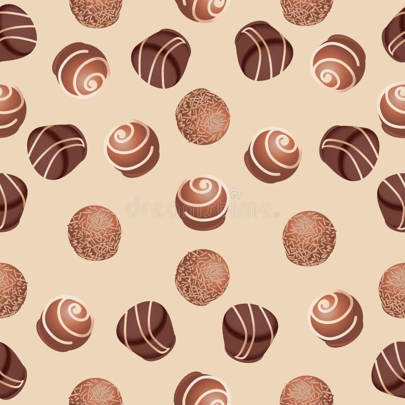 Caramelos de chocolate Modelo inconsútil stock de ilustración