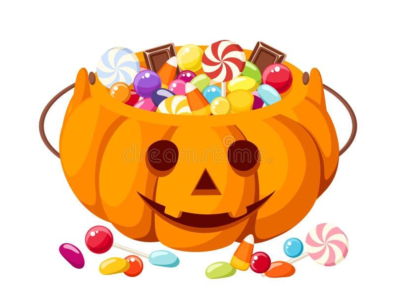 Caramelos de Halloween en bolso de la Jack-O-linterna. ilustración del vector