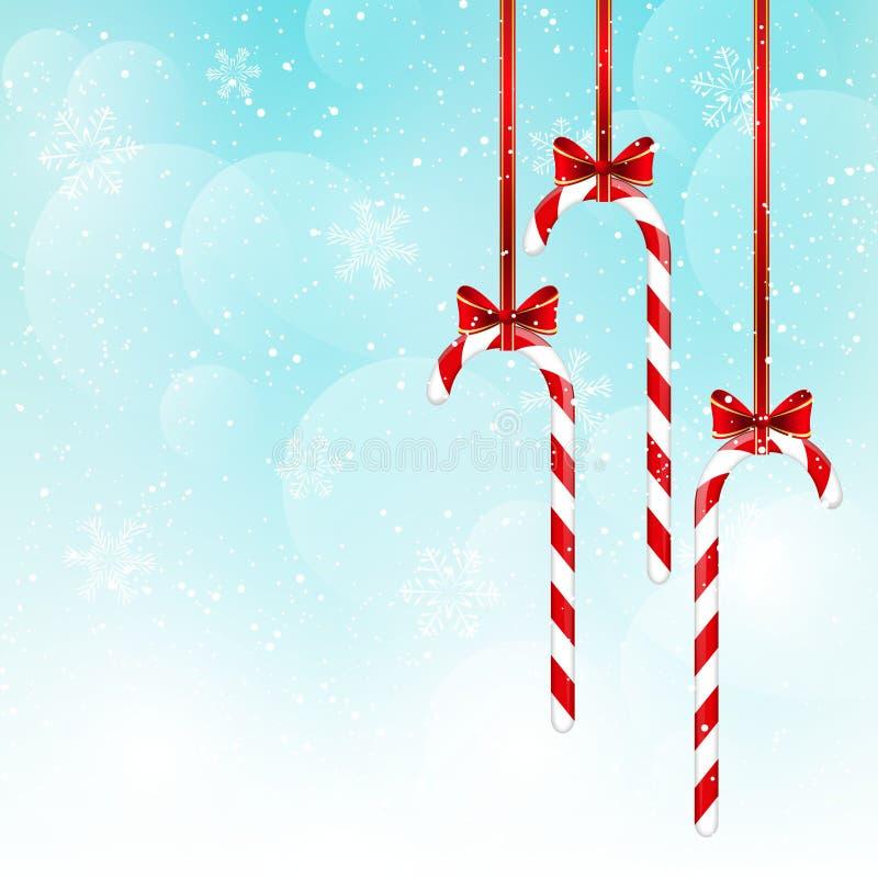 Caramelos de la Navidad en el cielo azul stock de ilustración