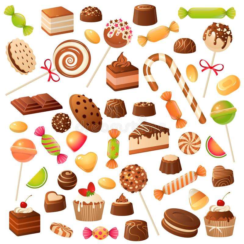 Caramelos dulces Piruleta, mermelada y fruta del caramelo del caramelo escarchadas Chocolate y melcocha, postres del día de fiest libre illustration