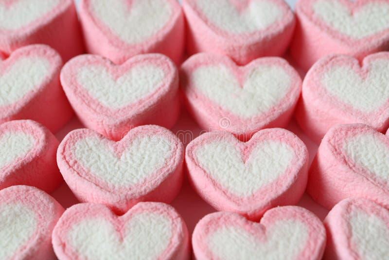 Caramelos en forma de corazón en colores pastel alineados del rosa y blancos de la melcocha para el fondo, bandera, modelo fotografía de archivo