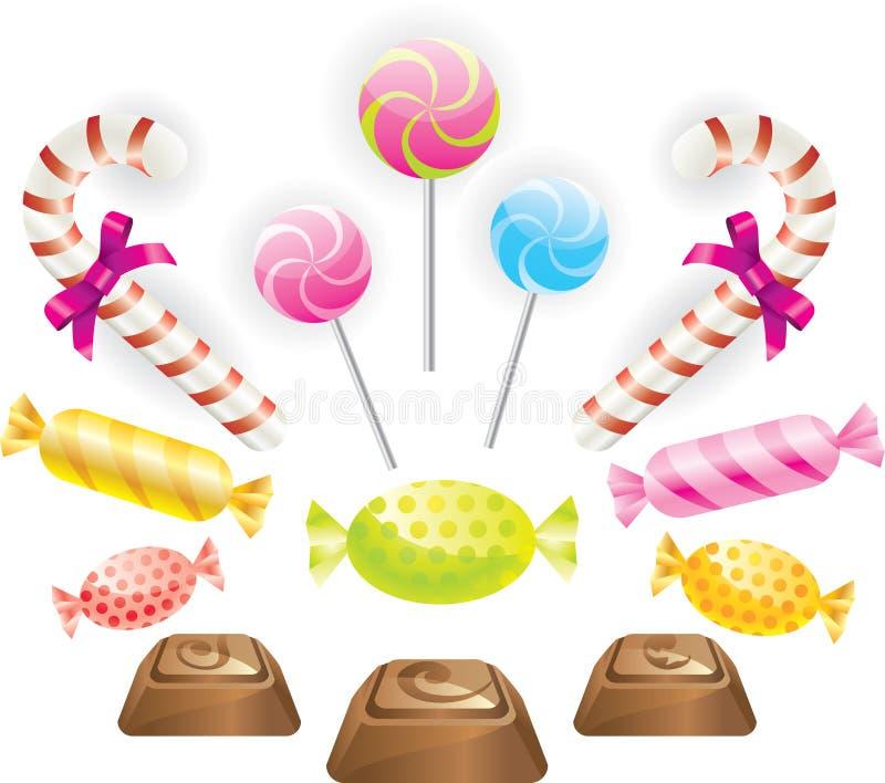 Caramelos fijados ilustración del vector