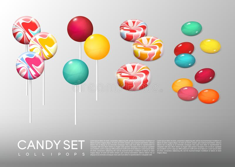 Caramelos redondos brillantes realistas fijados ilustración del vector