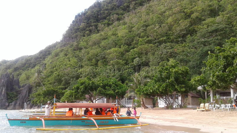 Caramoan. Hunungon Cove at Caramoan is known for its majestic view surrounded with clear water and kuligligs stock images