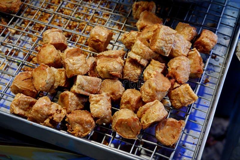 Caranguejo fritado, alimento tailandês da rua fotos de stock