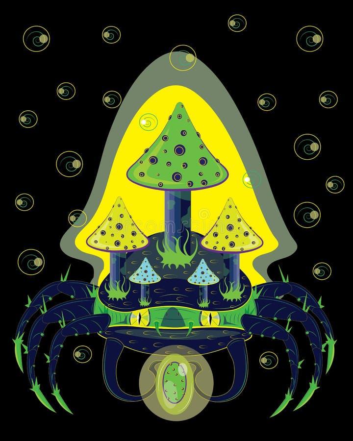 Caranguejo mágico com cogumelos em uma parte traseira ilustração do vetor