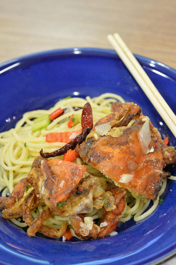 Caranguejo macio dos espaguetes fotografia de stock royalty free