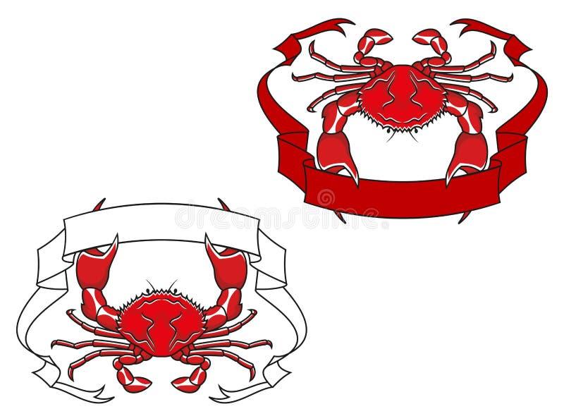 Caranguejo vermelho com a fita nas garras ilustração do vetor