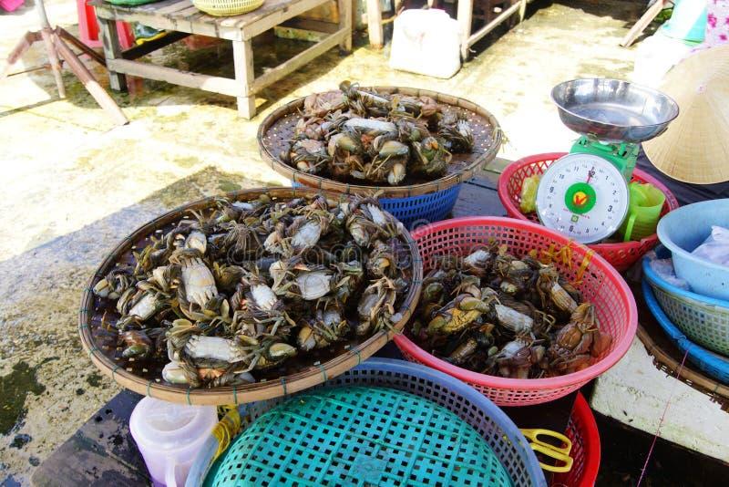 Caranguejos no mercado de Hoi An imagem de stock royalty free