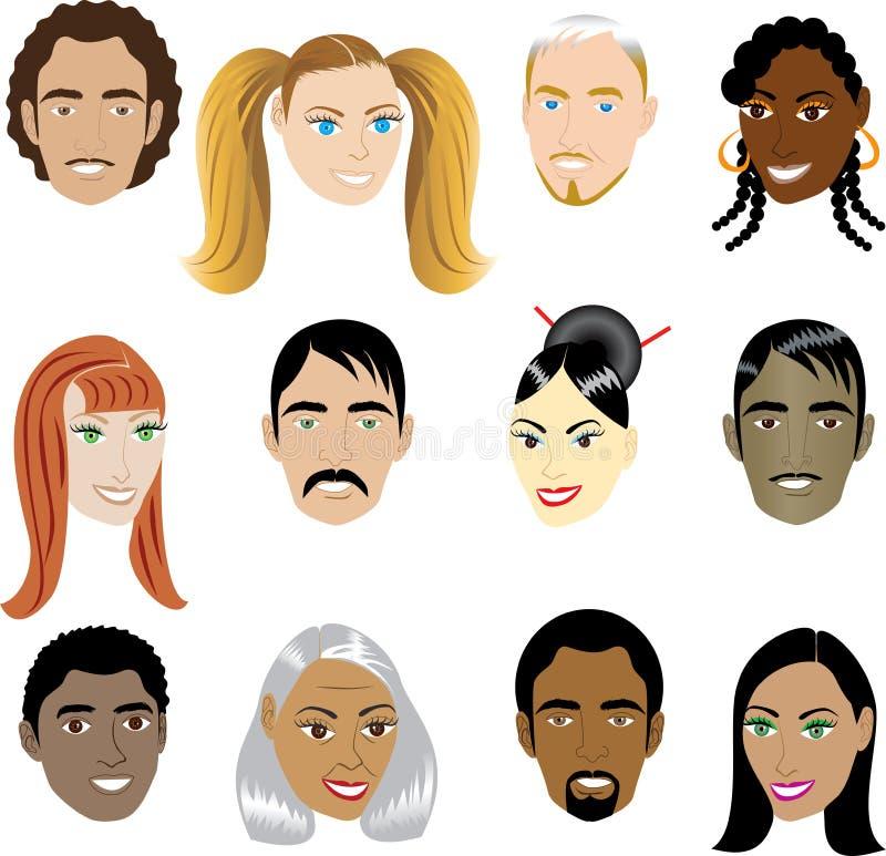 Caras 1 de la gente ilustración del vector