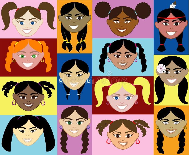 Caras 2 de las muchachas ilustración del vector