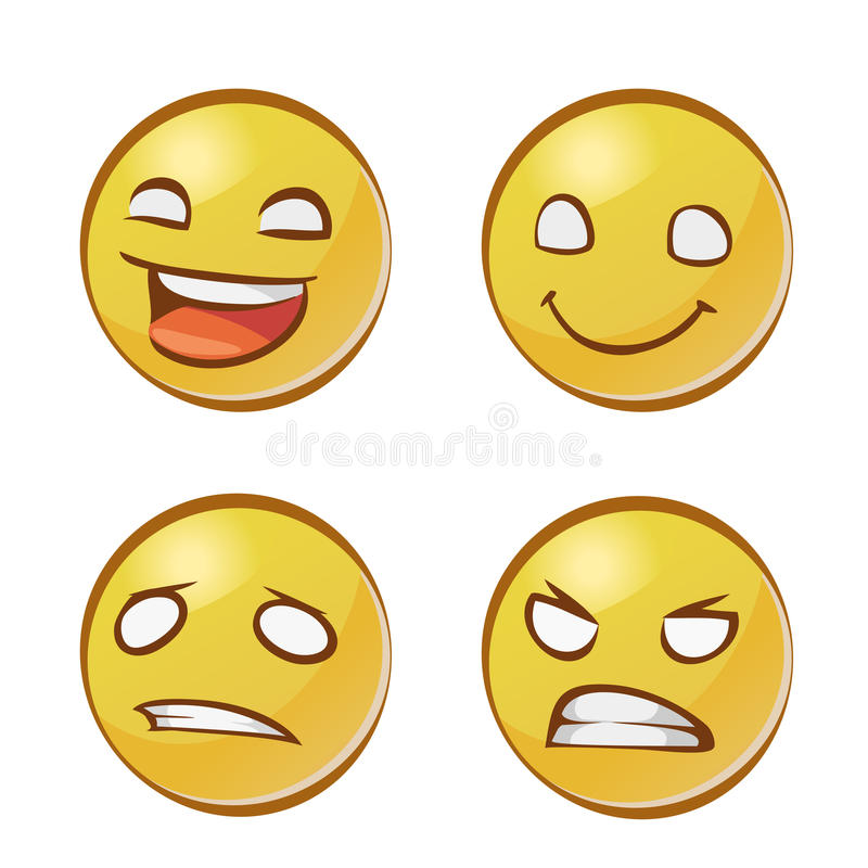 Caras amarillas con emociones stock de ilustración