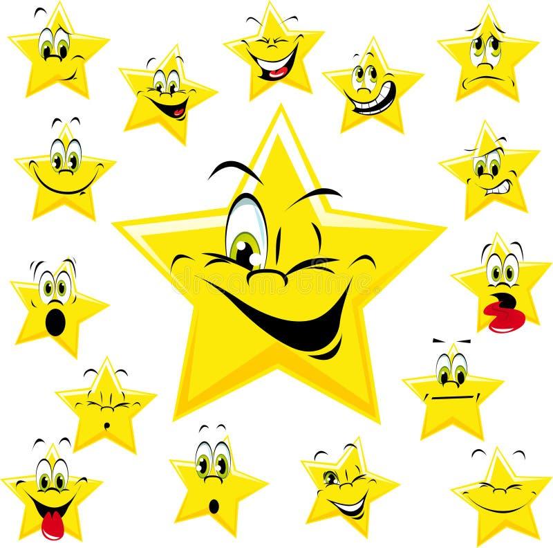 Caras amarillas de la estrella de la historieta ilustración del vector