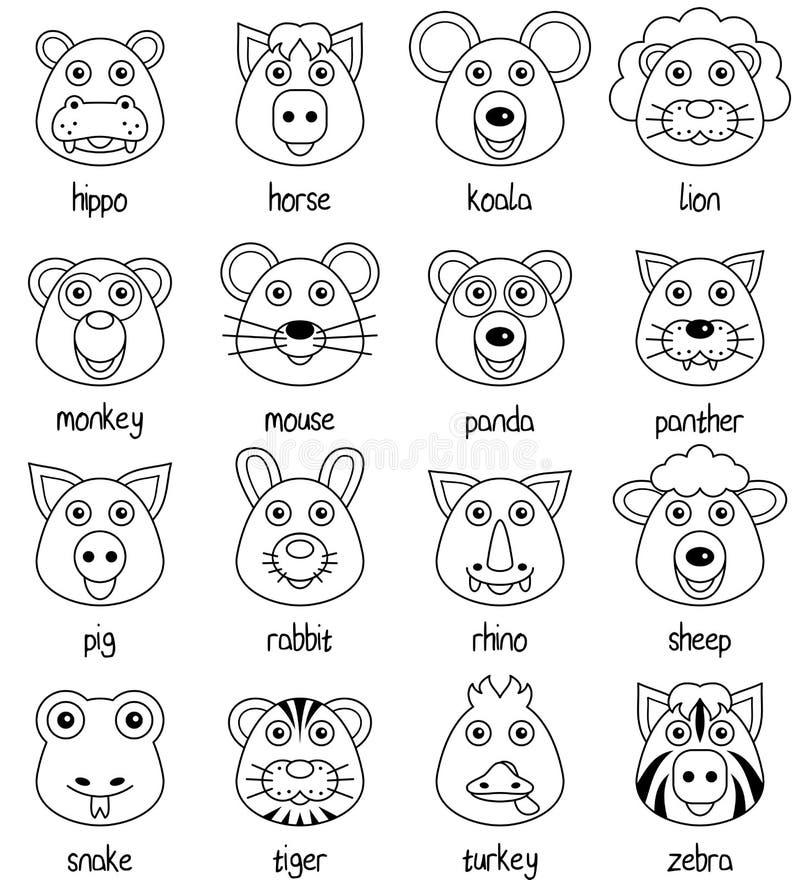 Caras animais dos desenhos animados da coloração ajustadas [2] ilustração royalty free