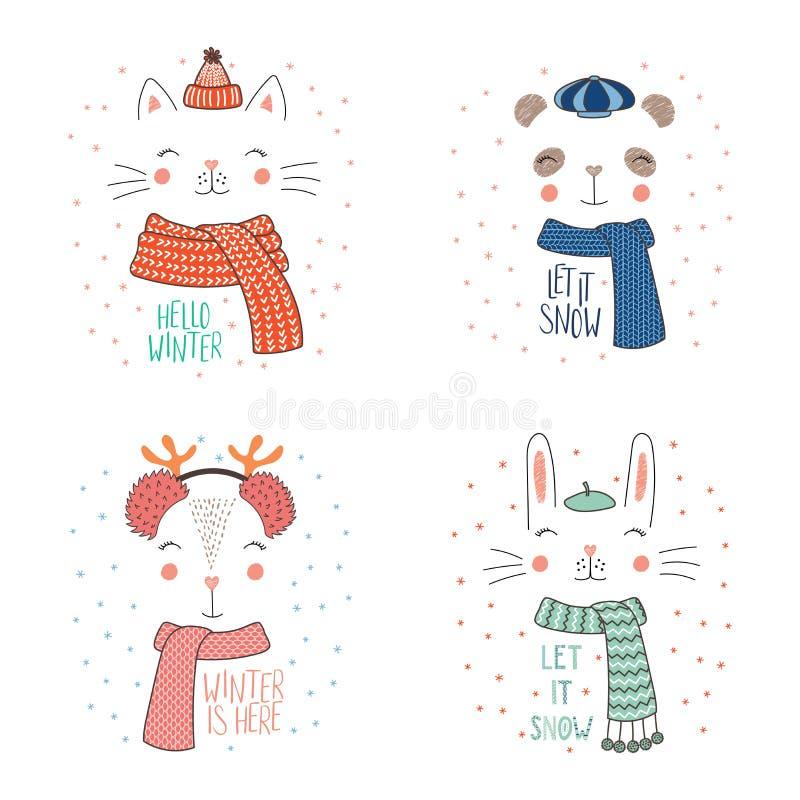 Caras animales en sombreros calientes ilustración del vector