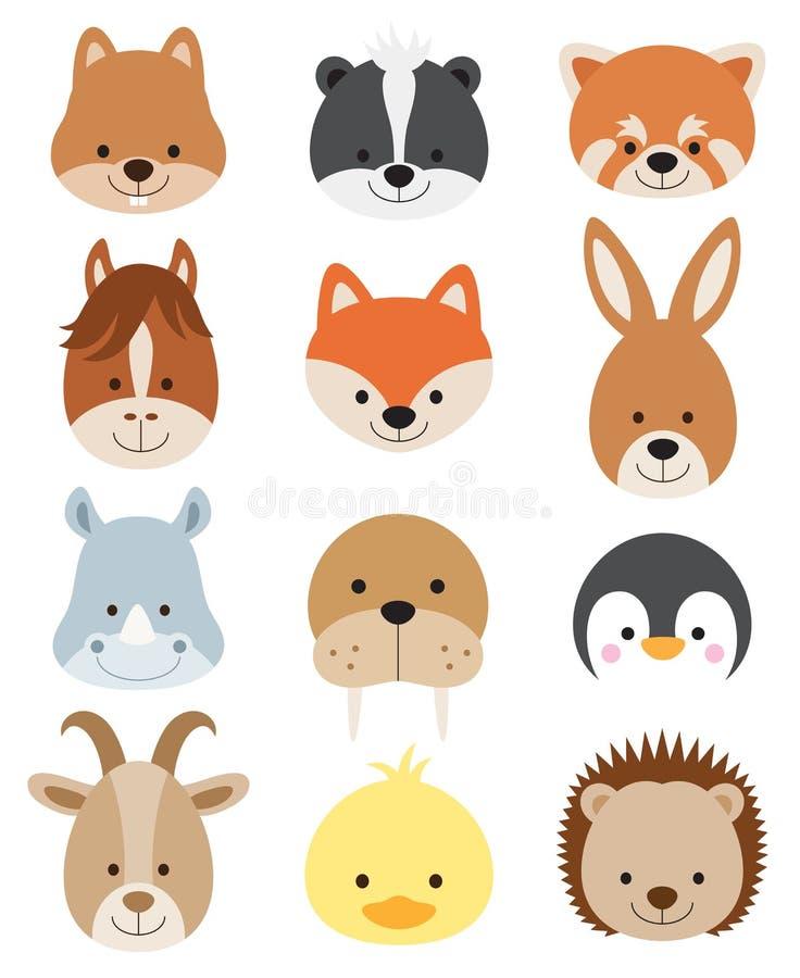 caras animales fijadas ilustración del vector