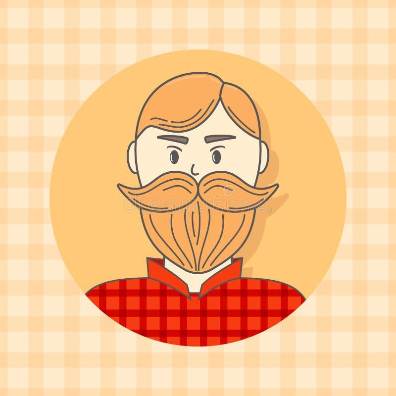 Caras Avatar en círculo Hombre brutal con la barba Ilustración del vector Estilo plano libre illustration