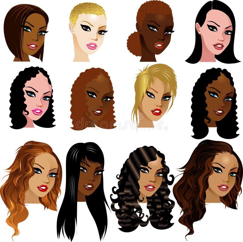 Caras Biracial mezcladas de las mujeres ilustración del vector