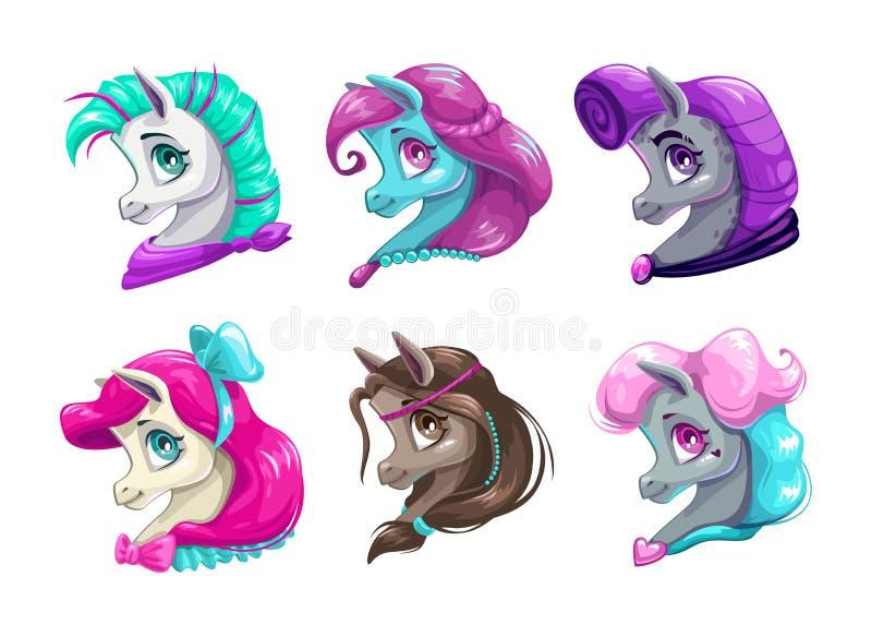 Caras bonitas de los caballos de la historieta ilustración del vector