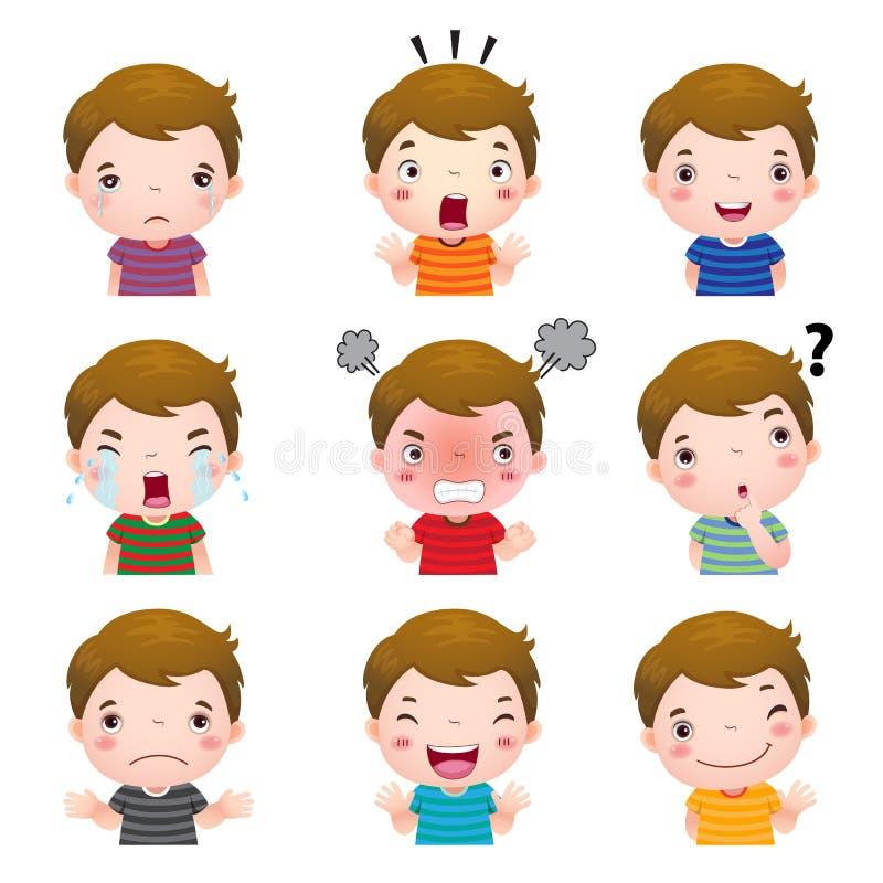 Caras bonitos do menino que mostram emoções diferentes ilustração do vetor