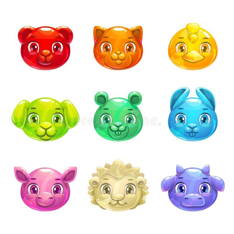 Caras coloridas dos animais da geleia dos desenhos animados bonitos ilustração do vetor