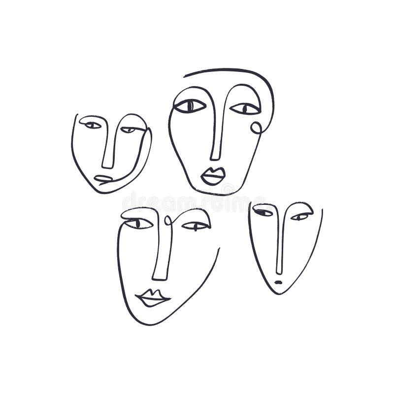 Caras continuas abstractas de una tinta del dibujo lineal Retratos modernos del estilo stock de ilustración