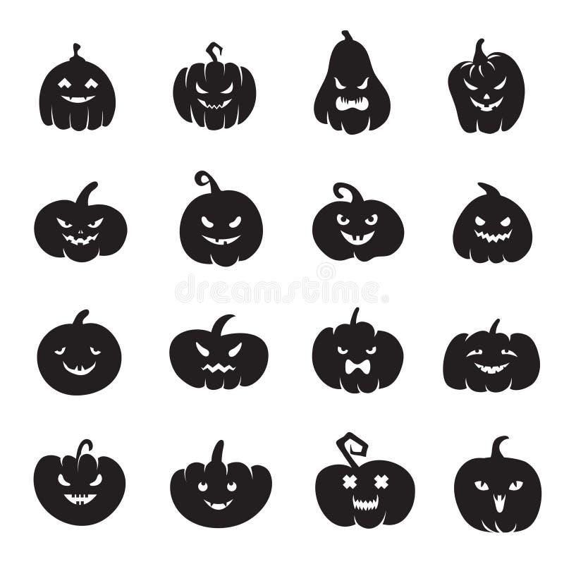 Caras da abóbora de Dia das Bruxas Abóboras assustadores ensanguentados com sorriso mau e olhos ilustração royalty free