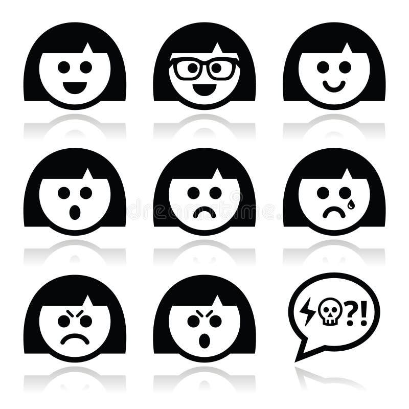 Caras da menina ou da mulher do smiley, ícones do avatar ajustados ilustração do vetor