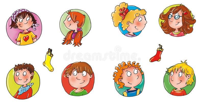 Caras das crianças com ícone cômico engraçado colorido do botão do avatar dos fundos aos locais ilustração royalty free