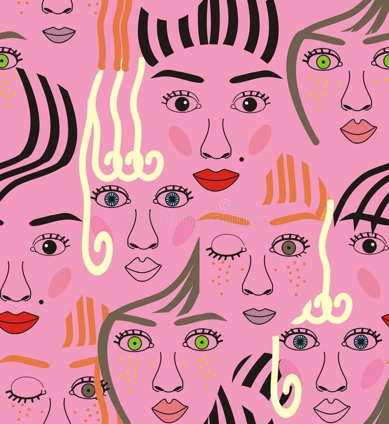 Caras das meninas com olhos, cabelos, ruído e bordos ilustração stock