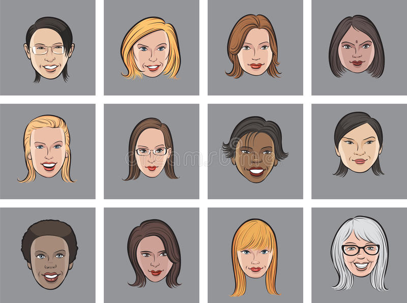 Caras das mulheres do avatar dos desenhos animados ilustração stock