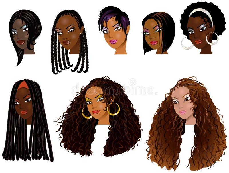 Caras 2 Das Mulheres Negras Imagem de Stock Royalty Free